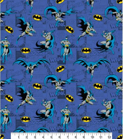 3132320-31 TESSUTO COT.cm110 Batman Comics Blue**