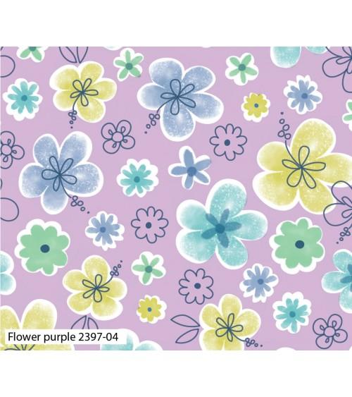 3132397-04 TESSUTO COT.cm110 Flower Purple