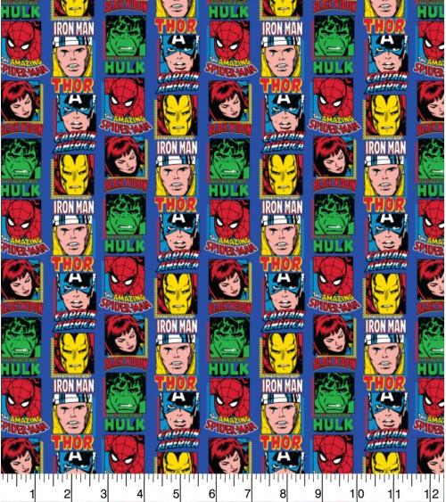 3132851-02 TESSUTO COT.cm110 Marvel Comic Blue