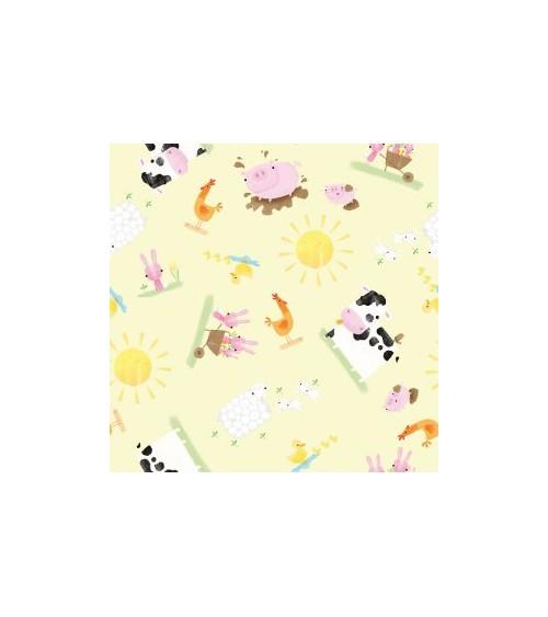 3132702-04 TESSUTO COT.cm110 Playful Farm Yellow